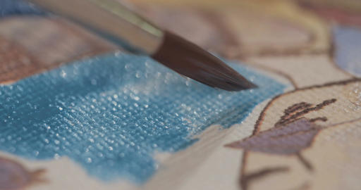 Macro shot of brush painting with acrylic colors Footage
