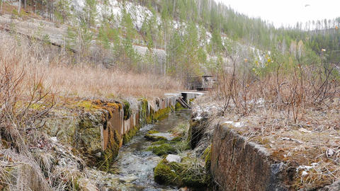 The stream at the bottom of the quarry. Russia Footage