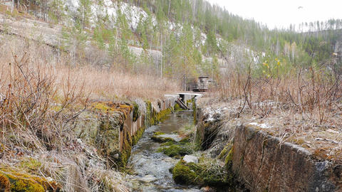 Creek at the bottom of the quarry. Russia Footage