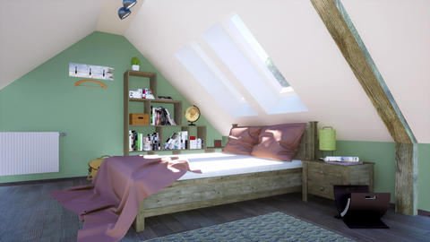 Double bed in modern bedroom interior in attic 3D animation Animation