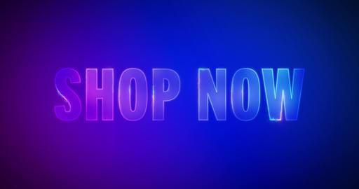 Shop now. Electric lightning words. Logotype Animation