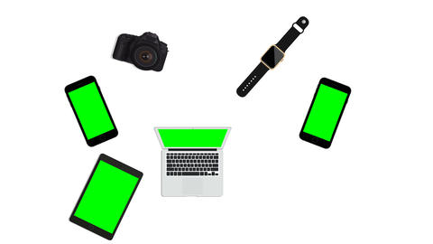 Graphic animation of hi Tech devices, smartphone laptop, tablet,hi tech addict Live Action