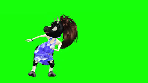 821 4k TOON ANIMALS 3D computer generated two different COWS dancing CG動画