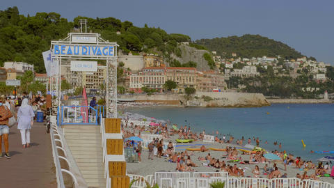 Famous Beau Rivage Beach Club in Nice - CITY OF NICE, FRANCE - JULY 10, 2020 Live Action