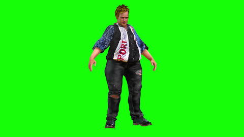815 4K HEALTH 3D computer generated fat woman and man walking drunk Animation