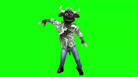 819 4k TOON ANIMALS BUSINESS 3d computer generated BULL dancing diferren style TWO footages Animation