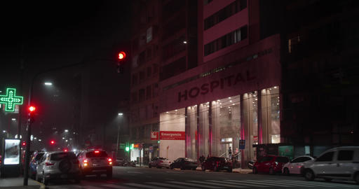 Hospital entrance at night Live Action