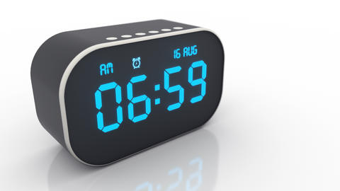 Alarm clock isolated on white background rings at 7 am when the morning comes Live Action