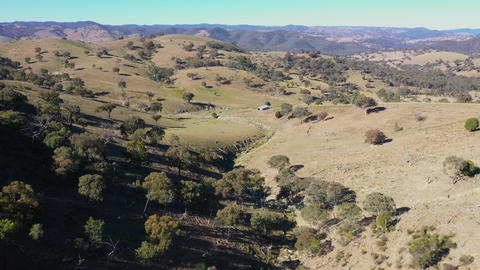 Aerial footage of a drought affected creek in regional Australia Live Action