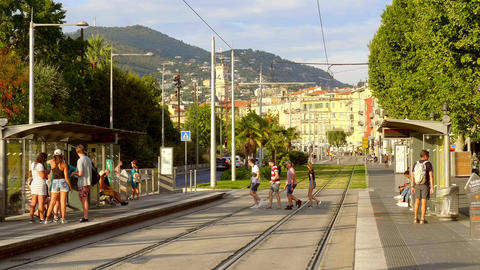 Tram tracks in the city centre of Nice - CITY OF NICE, FRANCE - JULY 10, 2020 Live Action