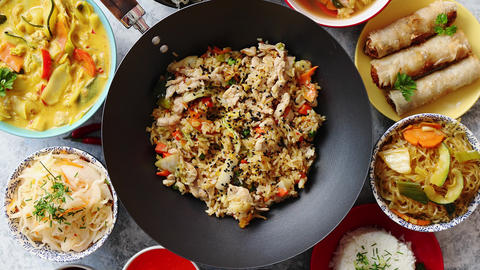 Chinese Food Set Asian Style Food Concept Composition Live Action
