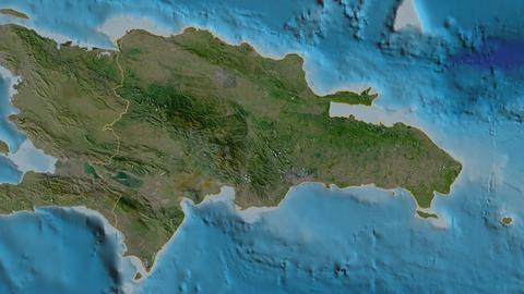 Azua extruded. Dominican Republic. Stereographic satellite map Animation