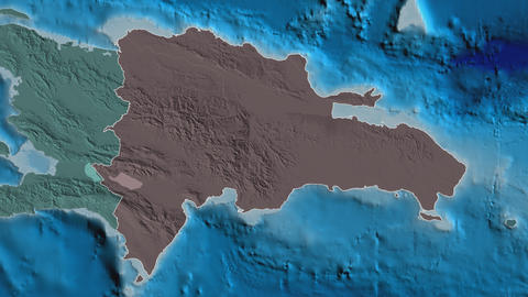 Bahoruco extruded. Dominican Republic. Stereographic administrative map Animation