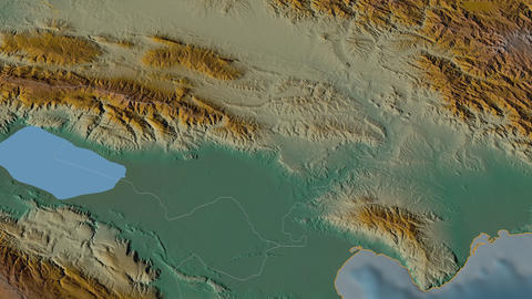 Bahoruco extruded. Dominican Republic. Stereographic relief map Animation