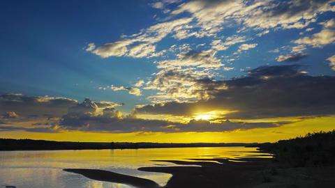 river sunset landscape, zoom timelapse, 4k Footage