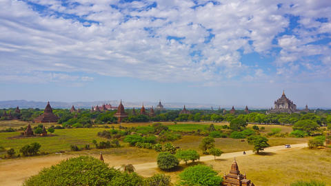 Landscape with Temples in Bagan, Myanmar Footage