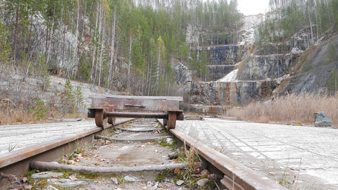 The trolley on the tracks in the quarry. Russia Footage