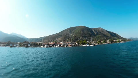 Ship Cruise Around Island Of Lefkada Footage