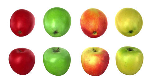 Turning apples, four options Animation
