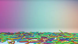 Colorful pens in studio falling Animation