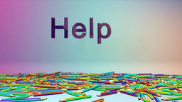 Colorful Crayons and Help text, Alpha Animation