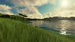 Couple enjoying time, beautiful green meadow and lake surrounded by mountains Animation