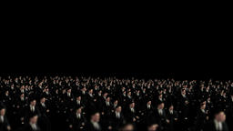 Crowd of Business men running, camera fly over, loop Animation