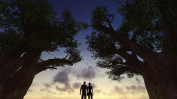 Couple watching sunrise between trees, timelapse clouds, night to day Animation