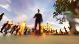 Crowd walking, low pov camera Animation