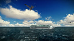 Cruise ship sailing, beautiful morning, seagulls flying, camera track, with soun Animation