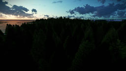 Cruising over forest hills and sea, beautiful timelapse sunrise Animation