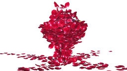 Diamond attracting rose petals, camera rotating, against white Animation