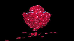 Diamond attracting rose petals, against black Animation