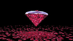 Diamond attracting rose petals, camera rotating, Luma Matte Animation