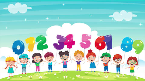 Animation Of Children Holding Colorful Number Balloons CG動画