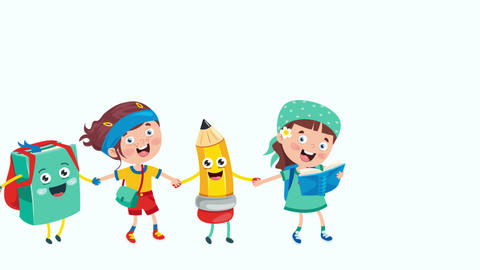 Animation Of Cartoon School Children Animation