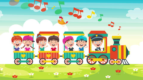 Animation Of Happy Kids Travelling On A Train Videos animados
