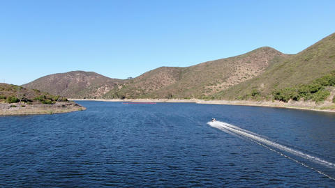 Aerial view of speed boat on Lake Hodges, San Diego County, California Live Action