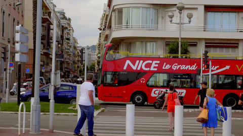 Sightseeing Bus in the city of Nice - CITY OF NICE, FRANCE - JULY 10, 2020 Live Action