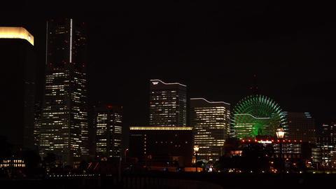 Japanese city landscape. Yokohama night landscape Live Action