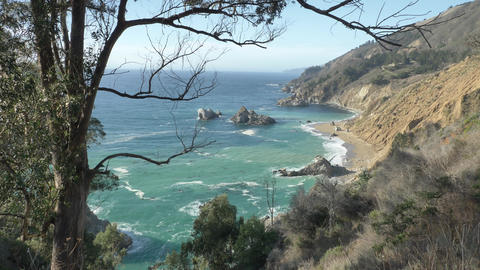 Big Sur Highway nr 1 California West Coast slow pan Live Action