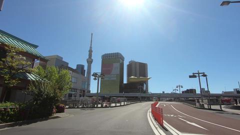 Japanese city landscape. Driving video near Tokyo and Azumabashi Acción en vivo
