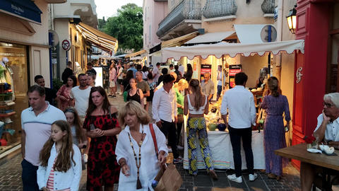 The historic district of Nice is a busy place- NICE, FRANCE - JULY 12, 2020 Live Action