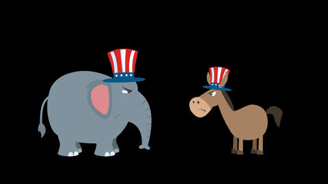 Angry Political Elephant Republican Vs Donkey Democrat Animation