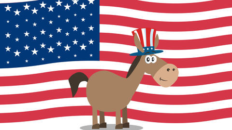 Democrat Donkey Cartoon Character With Uncle Sam Hat Over USA Flag Animation