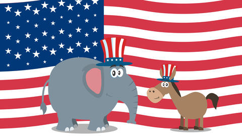 Political Elephant Republican And Donkey Democrat Over USA Flag Animation