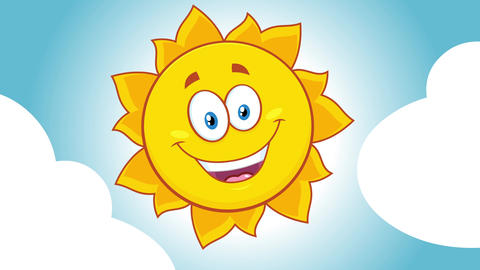 Happy Yellow Sun Cartoon Character With Clouds Animation