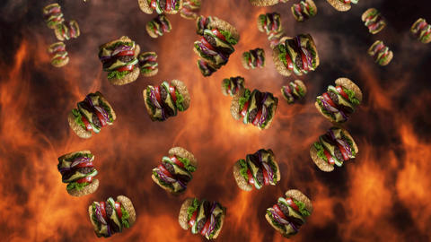 Hamburgers falling with smoke and burning fire in background. Fast food menu promo opener Animation