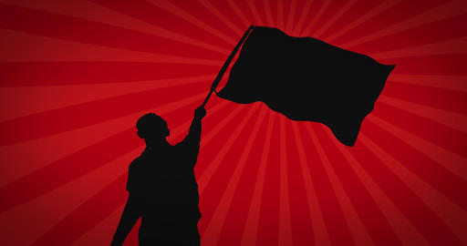 Black silhouette of protester waving flag against red background. Seamless loop Videos animados
