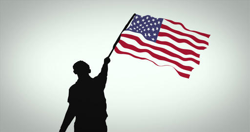 Black silhouette of a person waving the American flag. Seamless loop Animation